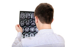 Young Man with Tomography Royalty Free Stock Photography