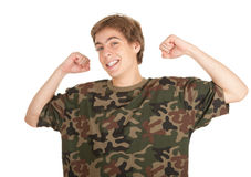 Young man in too great camouflage shirt Stock Image