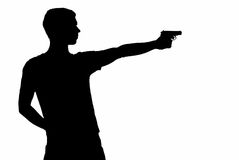 Young man took aim with pistol Stock Image