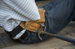 Young man with tool belt. stock images
