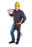Young man tool cut. Isolated young handy man standing Stock Photos