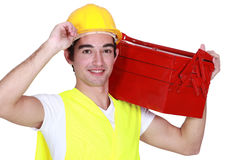Young man with a toolbox Stock Photo
