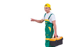 The young man with toolkit toolbox isolated on white Stock Photos