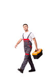The young man with toolkit toolbox isolated on white Stock Image