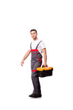 The young man with toolkit toolbox isolated on white Stock Images