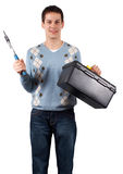 Young man with tools Royalty Free Stock Photography