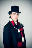 Young man in top-hat. Photography of a young man in top-hat Royalty Free Stock Photos