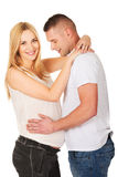 Young man touching his wife pregnancy belly Royalty Free Stock Photo