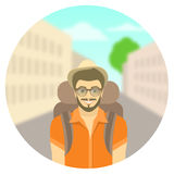 Young man tourist with a backpack on city landscape Royalty Free Stock Images