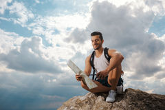Young man tourist with a backpack Stock Photo