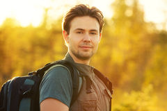 Young man tourist Stock Images