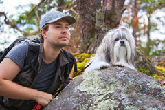Young man tourist with dog Stock Photo