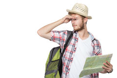 Young man tourist Stock Photography