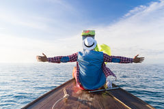 Young Man Tourist Sail Long Tail Thailand Boat Ocean Sea Vacation Travel Trip Royalty Free Stock Image