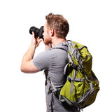 Young man tourist use camera Royalty Free Stock Photo