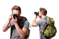 Young man tourist use camera Stock Photo