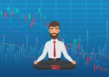 Young man trader meditating under falling crypto or stock market exchange chart. Business trader, finance stock market