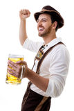 Young man in traditional bavarian costume on white background Stock Photos