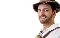 Young man in traditional bavarian costume on white background Royalty Free Stock Photos