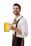 Young man in traditional bavarian costume on white background Royalty Free Stock Image