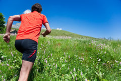 Young man trail running Stock Photo