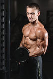 Young man train in gym healthcare lifestyle sexy caucasian man Royalty Free Stock Images