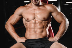 Young man train in gym healthcare lifestyle sexy caucasian man Royalty Free Stock Image