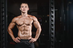 Young man train in gym healthcare lifestyle sexy caucasian man Stock Photos