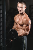 Young man train in gym healthcare lifestyle sexy caucasian man Stock Photography