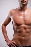 Young man trained topless with abs Stock Photos