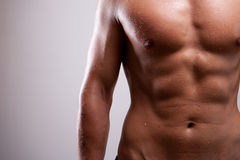Young man trained topless with abs Royalty Free Stock Photography
