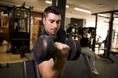 Young man training biceps at gym Royalty Free Stock Photos