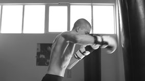 Young man in training for Boxing. Slow motion.  stock footage