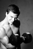 Young man training with dumbell Royalty Free Stock Image