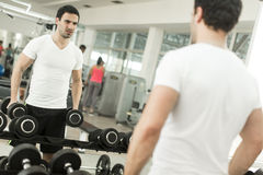 Young man training in gym Royalty Free Stock Images