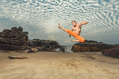 Young man training martial arts Stock Images