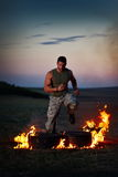 Young man training outdoor in summer Royalty Free Stock Images