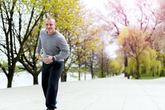 Young man training run outdoor. Stock Photo