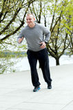 Young man training run outdoor. Stock Photos