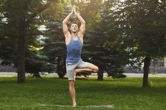 Young man training yoga in tree pose outdoors. Fitness, man training yoga in tree pose outdoors. Young sporty guy makes breathing exercise in park, copy space Royalty Free Stock Photo