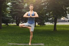 Young man training yoga in tree pose outdoors. Fitness, man training yoga in tree pose outdoors. Young sporty guy makes relaxing exercise in park, copy space Royalty Free Stock Photos