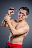Young man trains on white royalty free stock photo