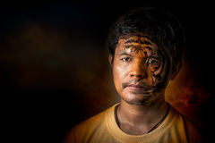 Young man transform to tiger Royalty Free Stock Photo