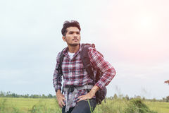 Young Man Traveler with backpack. Stock Photos