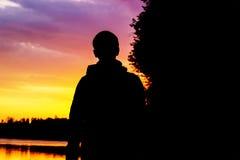 Young Man Traveler outdoor mountains stock photography