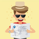 Young Man Traveler Read a Map. Concept Travel Vector Illustration Flat Style. Royalty Free Stock Photography