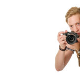 Young man traveler taking pictures by dslr camera isolated Royalty Free Stock Photo