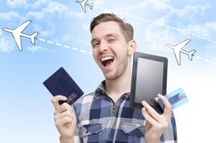 Young man traveling concept Royalty Free Stock Photos