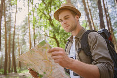 Young man traveling in nature Stock Image
