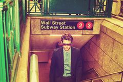 Young Man traveling in New York stock image